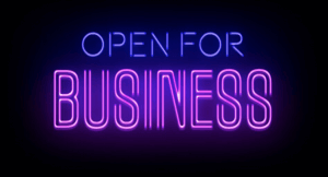 "Neon sign ""Open for Business"""