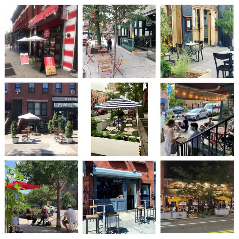 Grid of photos of outdoor seating restaurants