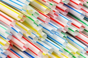 Colorful straws stacked in a bunch
