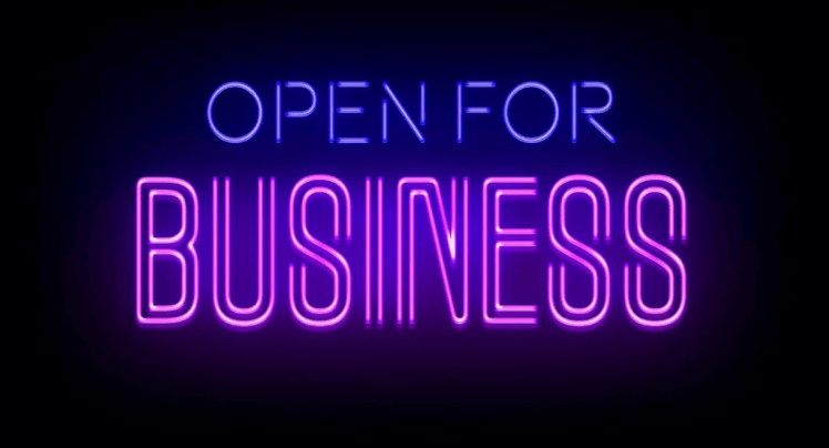 """Neon sign """"Open for Business"""""""