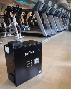 Black box for clean air on gym floor