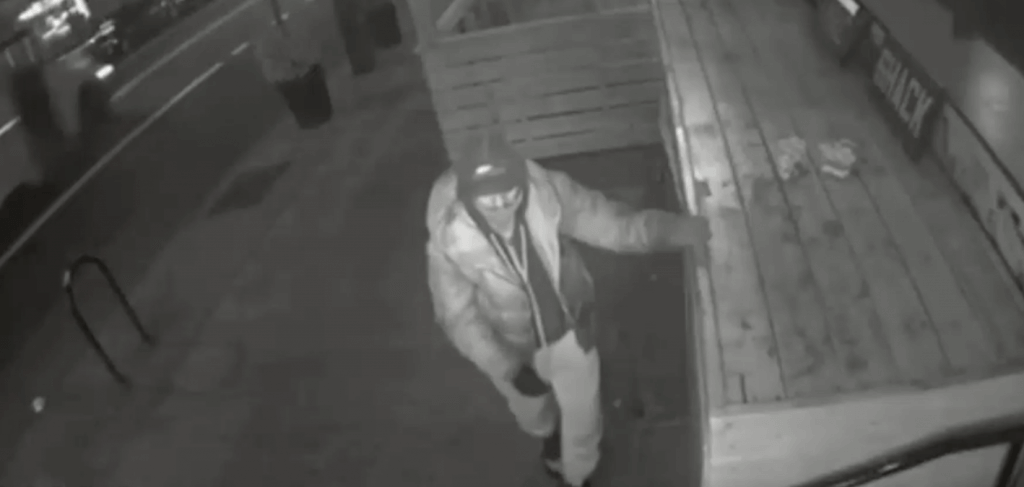 Footage of thief outside Mac Shack storefront