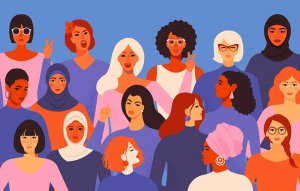 colorful illustration of women of all ethnicities